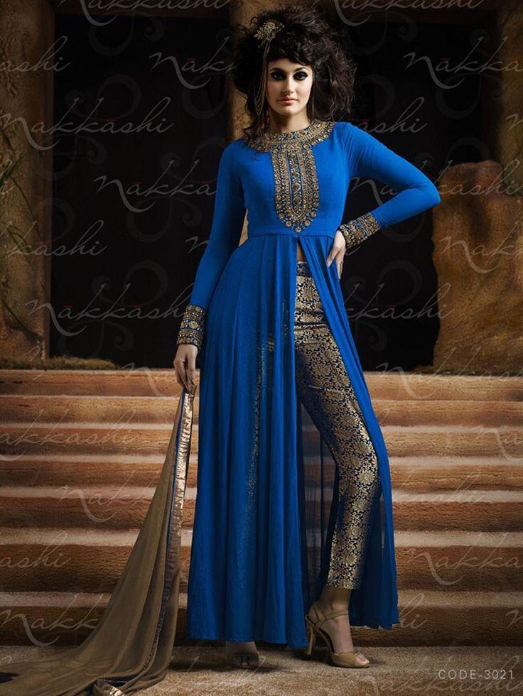 Blue Color Nakkashi Semi Stiched Salwar Kameez Dress