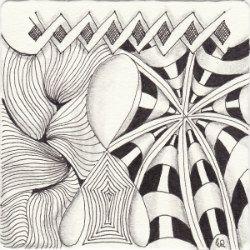 Ein Zentangle aus den Mustern Chebucto, Echoism, Fracas, Scena gezeichnet von Ela Rieger