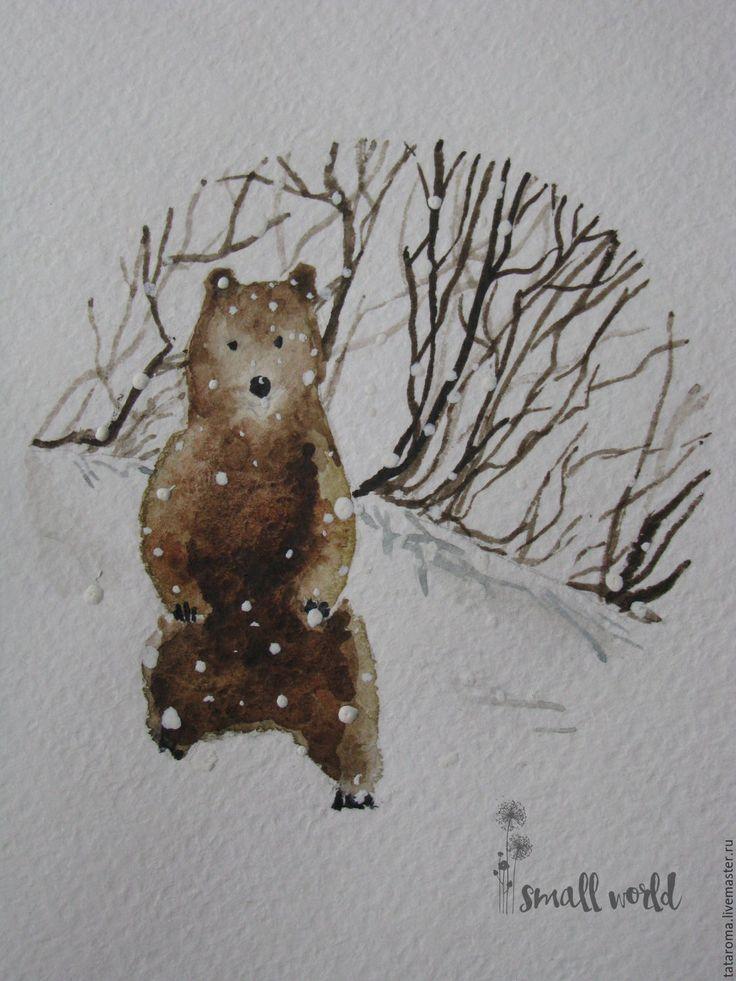 """Купить Авторская открытка """"Медведь"""" - белый, Открытка ручной работы, открытка, новый год 2016"""