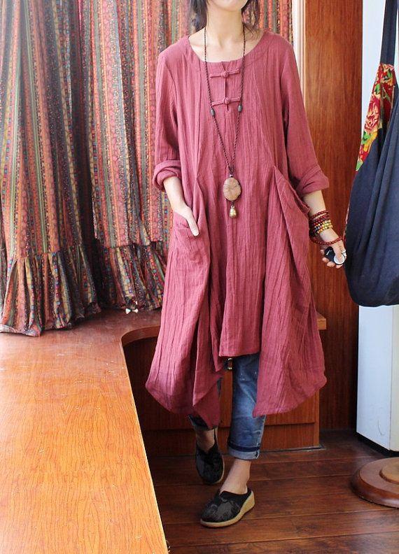 Casual Loose Autumn Coat,Women Linen Top,Asymmetric Linen Dress,Cotton Blouse,Plus Size Long Dress,Linen Clothing