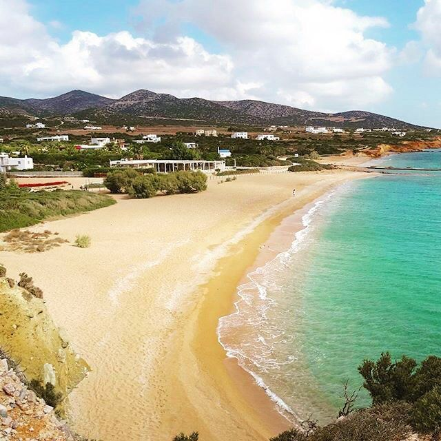 Very impressive Soros beach , at Antiparos island (Αντίπαρος) . Exotic blue sea and amazing long sandy beach ☀️. One of the most popular beaches of the island , enjoy the beauty of nature .