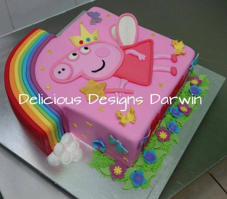 rainbow peppa pig cake  - Cake by Delicious Designs Darwin