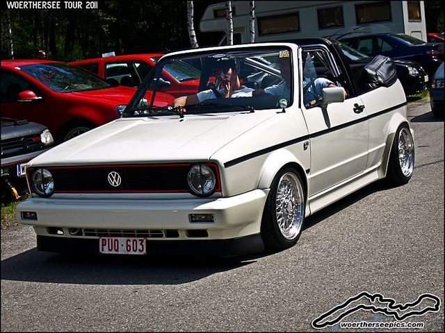 White VW Golf Mk1 Cabriolet on BBS wheels, via Flickr.