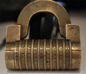 Antique combination lock -- this could be another adaptation if the Rubik's proves too difficult to build. I could build this hollow cylinder with the Hindi numerals and put a light inside of it --- numerals and their shifting component parts would illuminate a surface. Could make a nice lamp as well