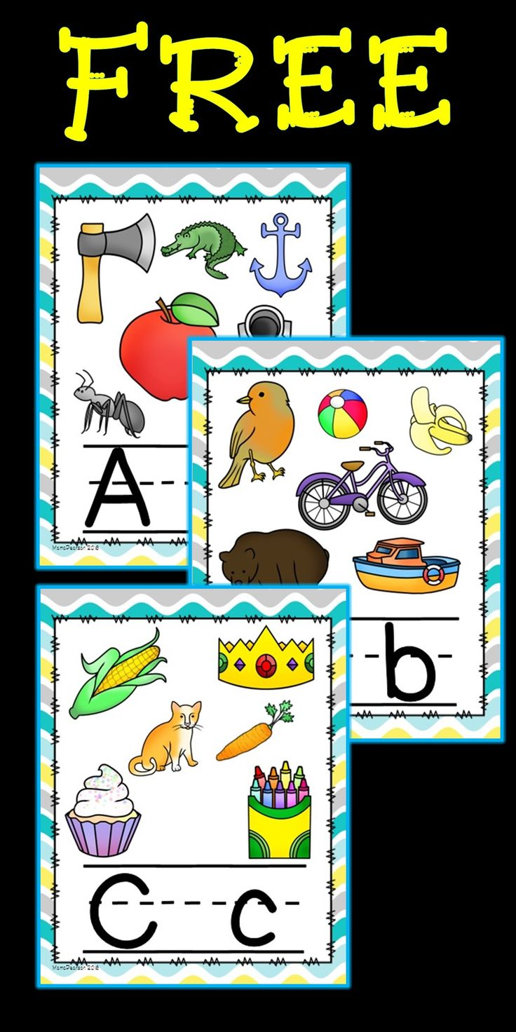 "FREE!! Full set of alphabet posters with upper and lower case letters. Each poster has several pictures and letters are lined....Follow for Free ""too-neat-not-to-keep"" teaching tools & other fun stuff! ;)"