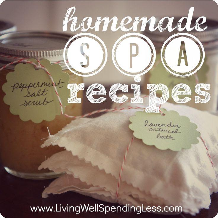 4 great homemade spa recipes (awesome gift idea!) #homemade #spa #scrub #bubble bath