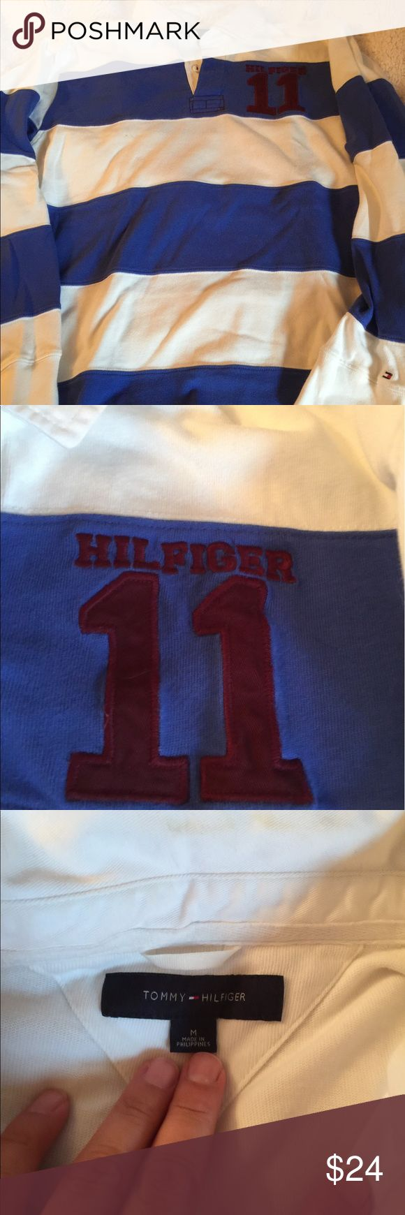 Tommy Hilfiger men's M rugby jersey blue white Tommy Hilfiger men's M rugby jersey blue white like new worn once Tommy Hilfiger Shirts Tees - Long Sleeve