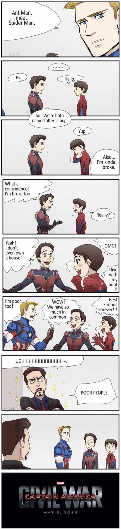 Got a problem, Stark?<<<< I first I was giggling and now I'm dying of laughter when Tony said Poor people