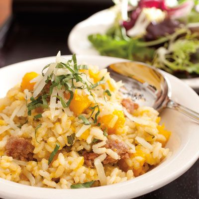 Pumpkin & sausage risotto - This is happening at my house this weekend....but with Butternut squash.