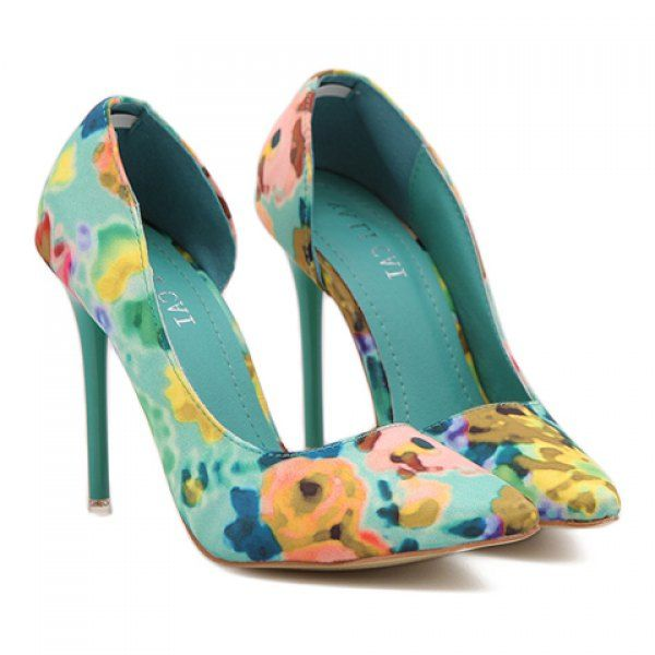 Sweet Pointed Toe and Floral Print Design Pumps For Women, GREEN, 36 in Pumps | DressLily.com
