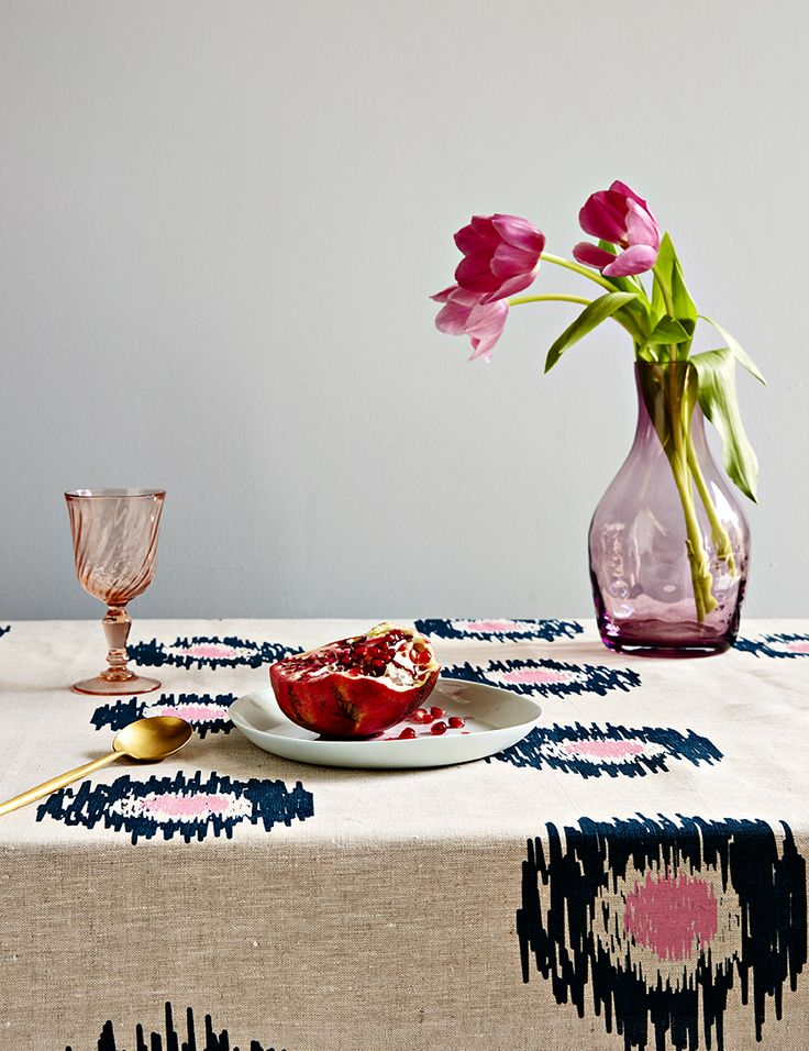 Aqua door Designs 'Ikat Spot' linen tablecloth in Ink and pink, styled by Danielle Selig, photography by James Tolich