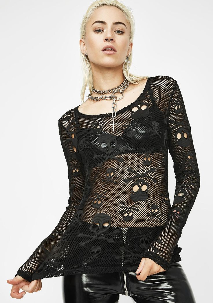 Tripp NYC LS Skull Mesh Top cuz you're drop dead gorgeous bb! This fishnet top has a scoop neck and thicc mesh material with skulls all ova.