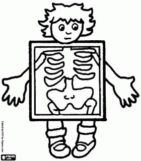 Kind in x-stralen om te zien de botten van het lichaam kleurplaat