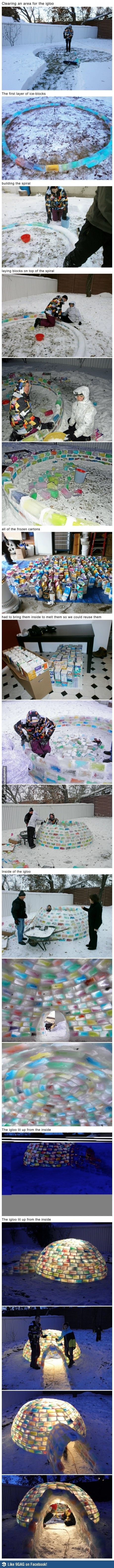 OK, this is a crazy amount of work, but so cool.  How to make an igloo in your backyard! Craycray