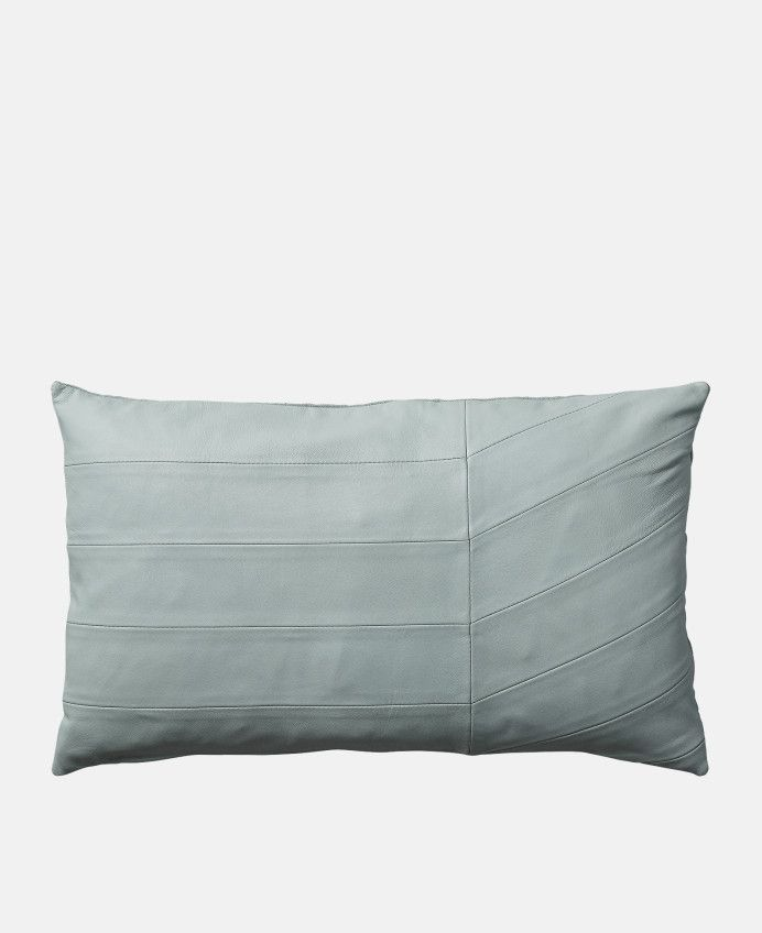 Coria Leather Cushion in Slate