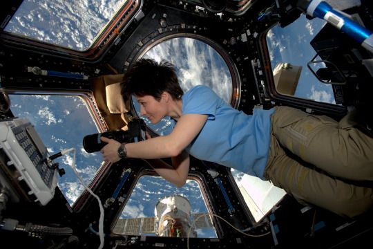 Astronaut Samantha Cristoforetti has the greatest office. (Image credit: ESA and NASA)