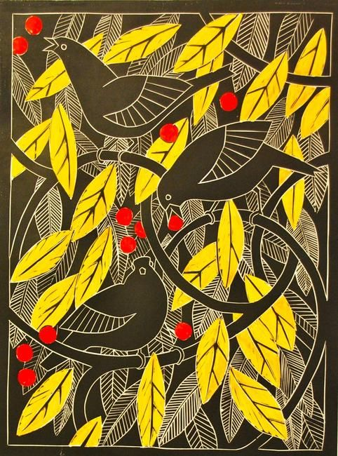 Blackbirds in the crabapple tree linocut by Celia Lewis