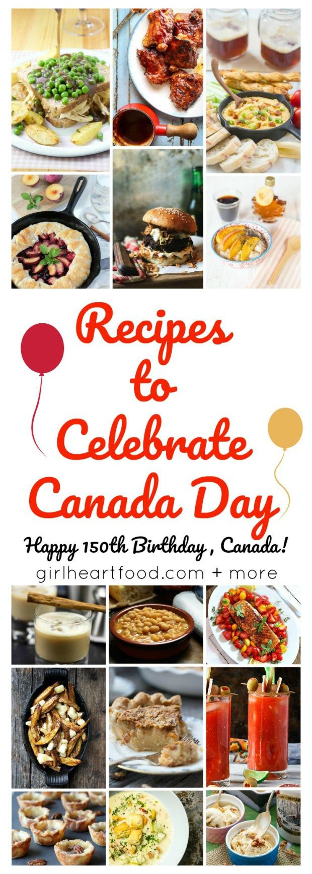 Recipes to Celebrate Canada Day (Happy 150th Birthday Canada) - girlheartfood.com + more