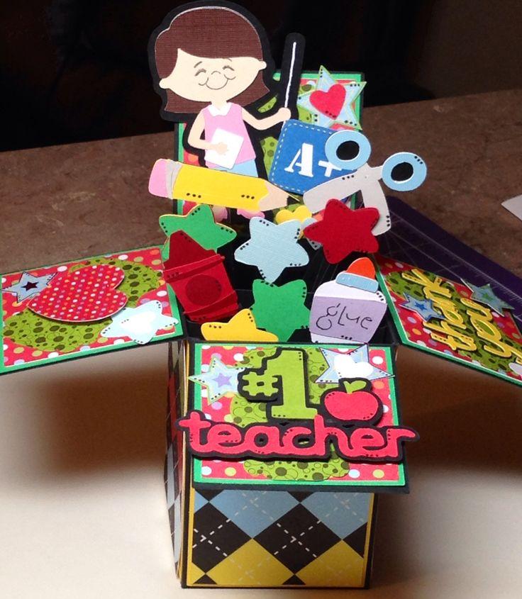 Teacher Pop Up Box card.  DCWV Grade School card stock Create a Friend, Locker Talk Cricut cartridges.