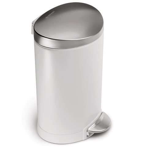 Simplehuman - Semi-Round Rubbish Bin White Steel 6L