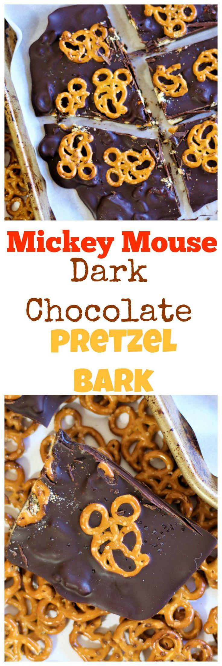 Mickey Dark Chocolate Pretzel Bark - National Pretzel Day - Disney Pretzel - Mickey Shaped Food - Mickey Pretzel - Disney Dessert - Disney Family