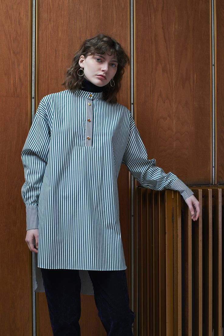 ODESSA - oversized shirt, emerald striped/charcoal details with TBILISI - flared velvet trousers in midnight blue