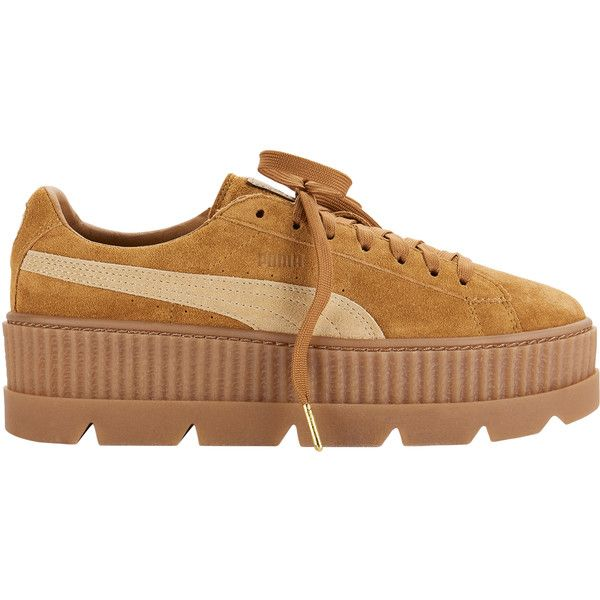 Cleated Brown Suede Creeper Sneakers ($160) ❤ liked on Polyvore featuring shoes, sneakers, metallic, high heel shoes, metallic platform sneakers, high heel sneakers, suede shoes and puma shoes