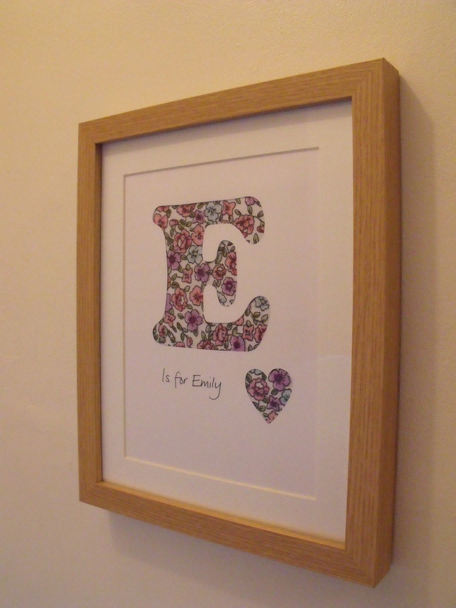 Framed Name Initial Letter Hand Papercut Wall Art Box
