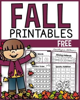 FREE FALL Math and Literacy printables for first grade!
