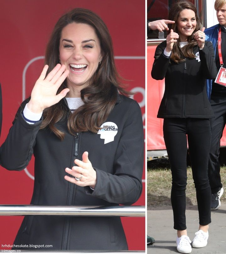 hrhduchesskate:  HeadsTogether Charity of the Year, 2017 Virgin Money London Marathon, April 23, 2017-The Duchess of Cambridge wore a HeadsTogether jacket, black jeans, striped sweater and Superga Cotu sneakers