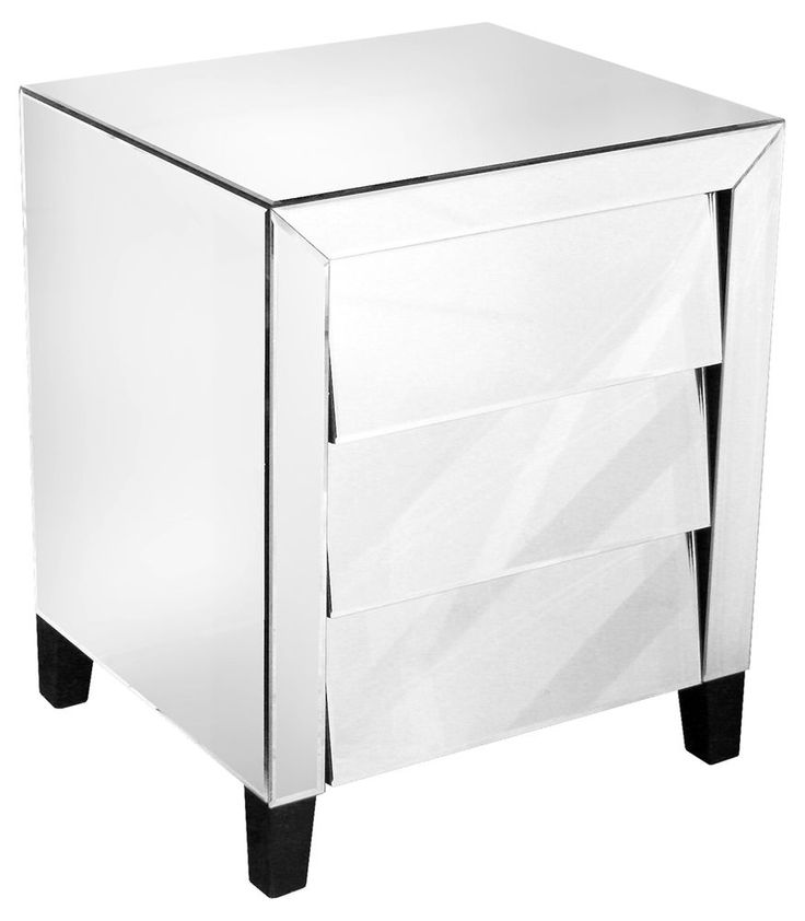 Mirrored Glass 3 Angled Drawer Bedside Chest / Lamp Table with Black Feet #Unbranded