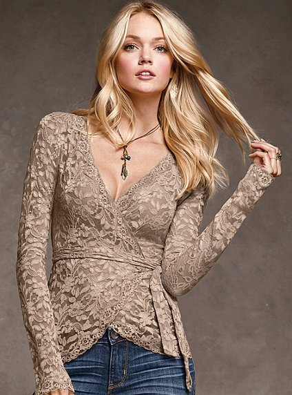 Lace Wrap Top - pretty necklace, too