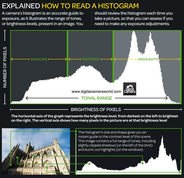 [How to read a histogram : photography cheat sheet] Your digital camera's histogram serves as a guide to help you better underststand your exposure. To this end, it aims to illustrate the range of tones in a scene. On the left of your histogram you'll find the extreme of dark shadows, while on the far right you will find your bright highlights.