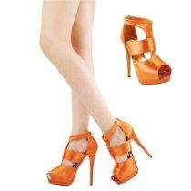 Shoehorne Bordeaux-6 - Womens Orange Satin Peep-Toe High Ankle Stiletto Tribute Platform Heel Cage Shoes - Avail in Ladies Size 3-8 UK