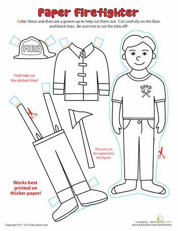Worksheets: Paper Dolls: Fireman