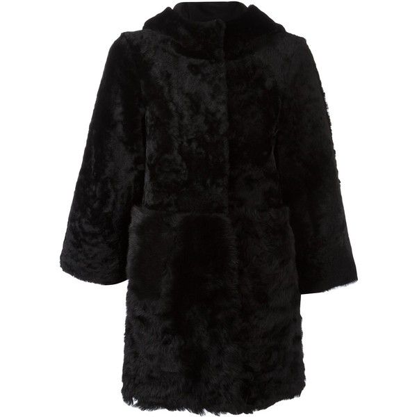 Drome hooded coat (£1,660) ❤ liked on Polyvore featuring outerwear, coats, black, fur hooded coat, fur coat, drome, hooded coat and fur hood coat