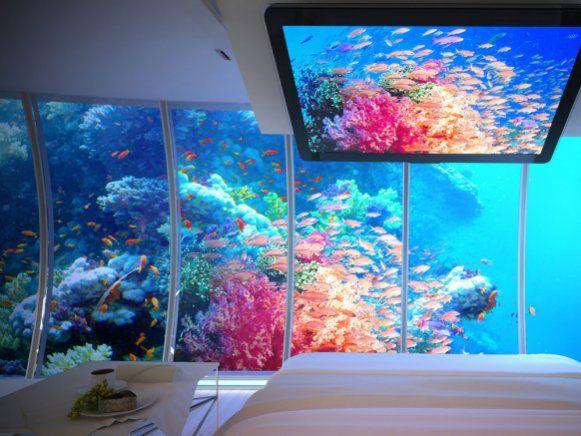 """Unterwasserwelten wie im Zeichentrick-Klassiker """"Arielle"""" oder """"Findet Nemo"""". Geplanter Ausblick aus einem der Suiten des Unterwasser-Hotel Water Discus."""