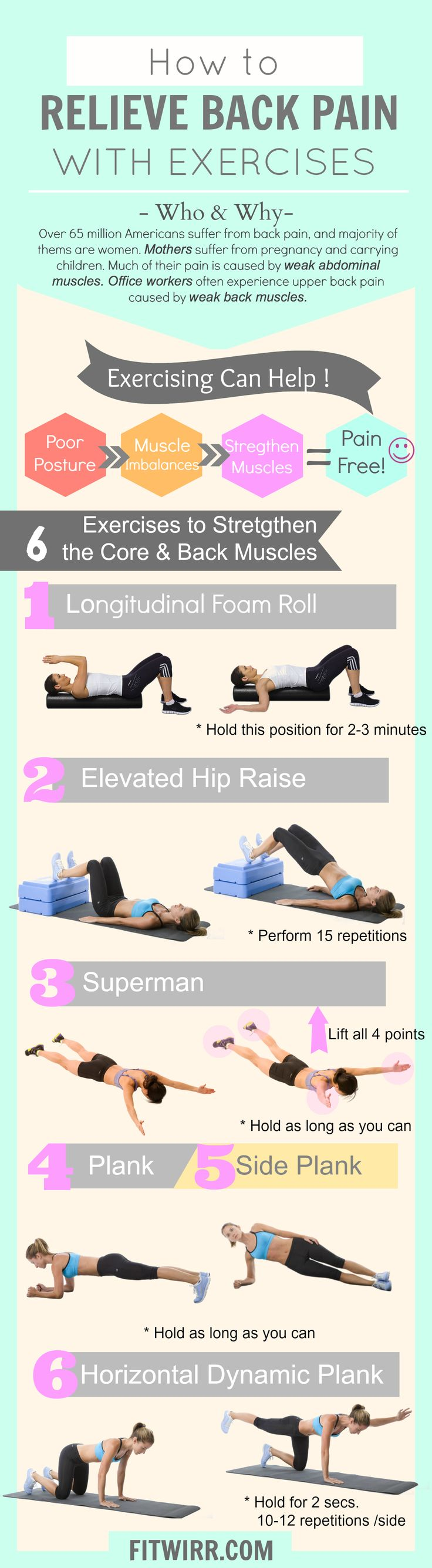 Check out these 6 safe exercises that can help provide back pain relief and strengthen your back and core muscles.