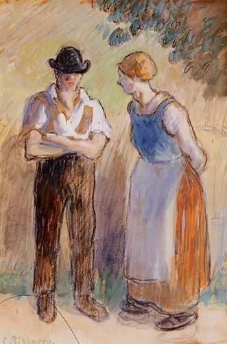 Two Peasants - Camille Pissarro