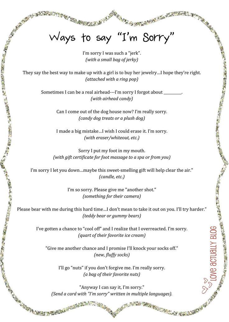 "Adorable ways to say ""I'm Sorry"". 100%Forgiveness Guaranteed"