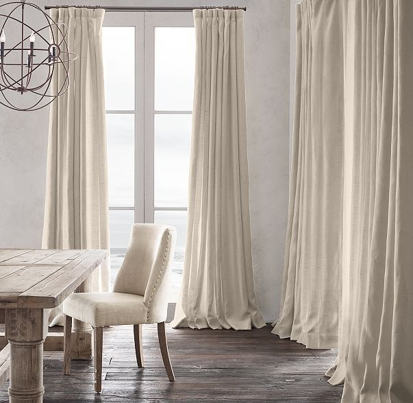 Belgian Heavyweight Textured Linen Drapery item # 13070073;  size- 84 x 50 ...color- Linen