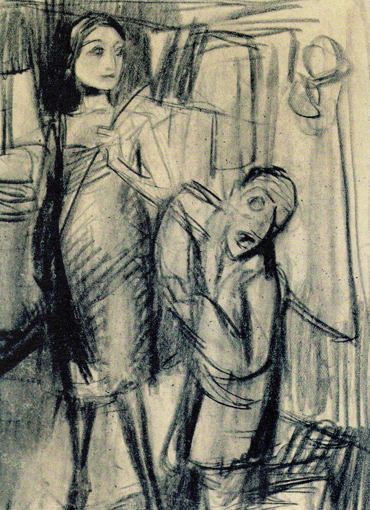 Kobieta z pejczem i klęczący mężczyzna