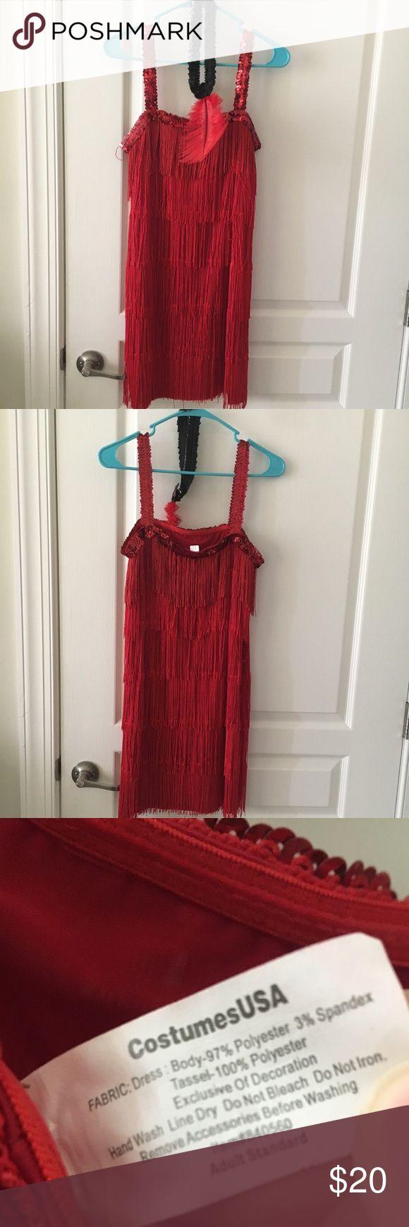 Red flapper dress / Halloween costume Super cute red flapper dress / costume. Comes with the headpiece. Tassels and jeweled. I offer discounts for bundles :) Dresses Midi