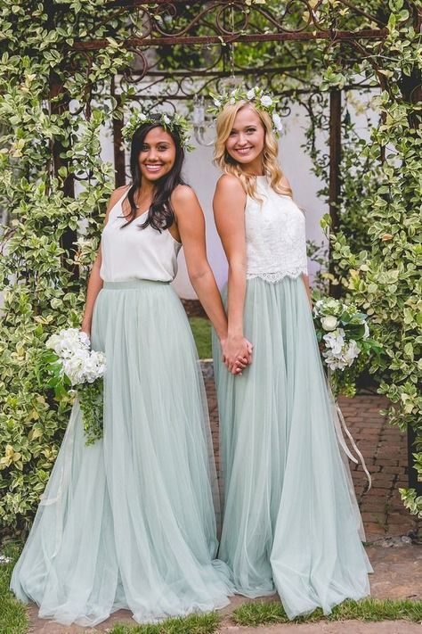 2687d00600 Two tone bridesmaids dresses in white and dusty blue