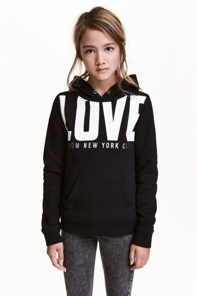 Sweat-shirt à capuche - Noir/New York - ENFANT | H&M BE 1