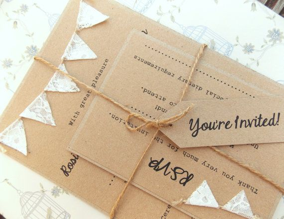 Custom Sample for Rhiannon Rustic Wedding Invitation Lace Bunting on Kraft Card via Etsy