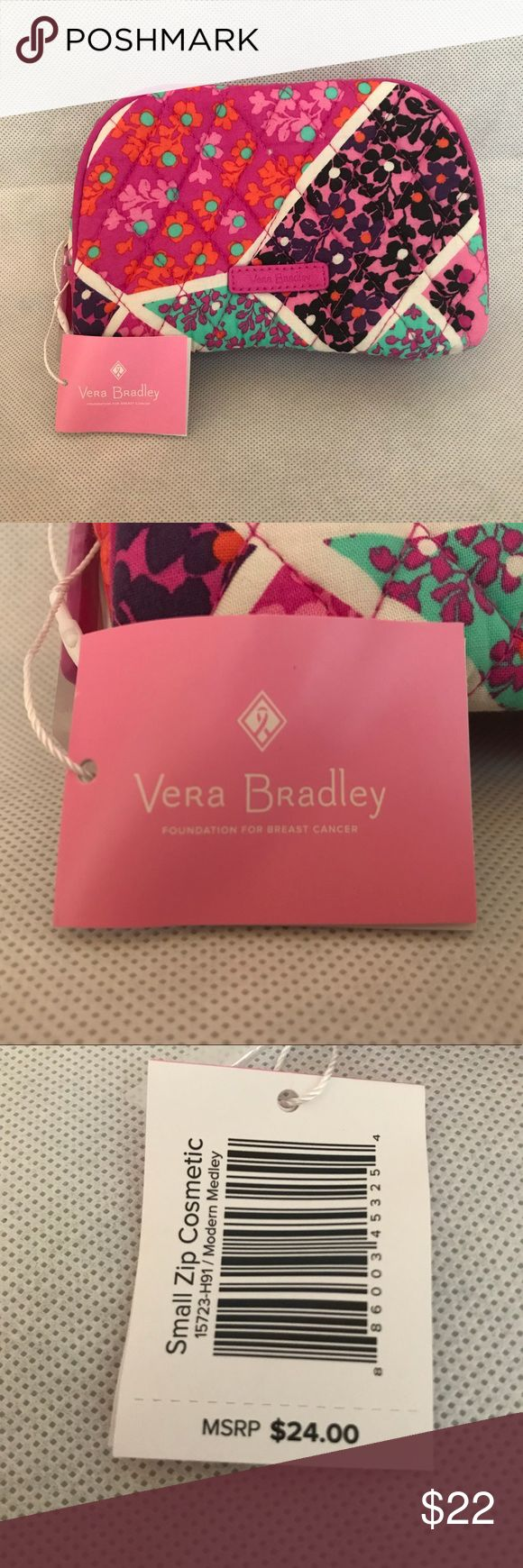 💖VERA BRADLEY Small Cosmetic Bag-Modern Medley💖 Modern Medley new cosmetic bag directly from Vera Bradley. Pairs well with other Vera Bradley products, and it is a great accessory to add to your collection.  Comes new with tags.  Only opened plastic wrap to take pictures. Stored in a pet free and smoke free environment Vera Bradley Bags Cosmetic Bags & Cases