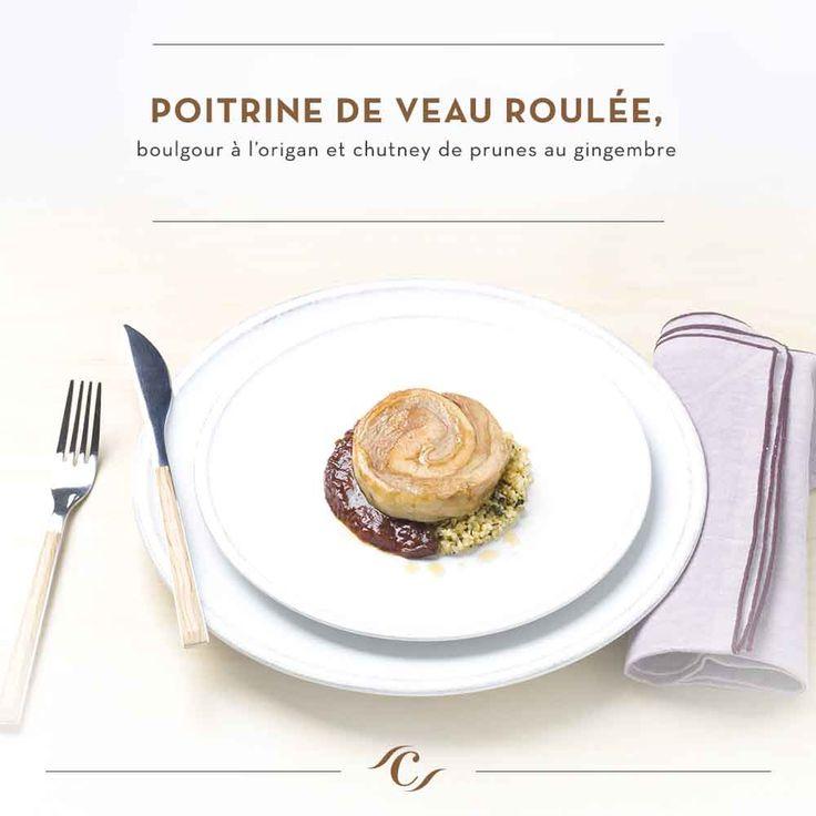 [Carte Enchantement Quotidien]  Poitrine de veau roulée, boulgour à l'origan et chutney de prunes au gingembre #ChefCuisine #MonChefCuisine #gastronomiealamaison #gastronomie #AnneSophiePic #food #cordonbleu #french #chef #foodie