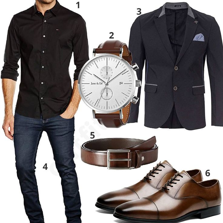 Elegant business style for men with black Tommy Hilfiger shirt, fashionable Yake jacket, dark blue A. Salvarini jeans, June & Ed wristwatch, dark brown MLT leather belt and Desai lace-up shoes.  1. Shirt► amzn.to/2HhAotp 2. Clock► amzn.to/2o29aPw 3. Jacket► amzn.to/2F7gY9U (-25%)  4. Pants► amzn.to/2F6CHyy (-56%)  5. Belt► amzn.to/2EuaUr1 6. Shoes► amzn.to/2Et3yEa