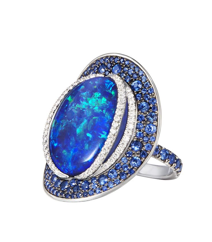 Opal Sapphire Ring ~ Set with an Australian Black opal of 16.04ct, sapphires and diamonds by Katrine Jetter